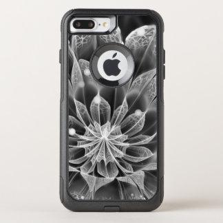 BnW Fractal Dahlia Flower via Electron Microscope OtterBox Commuter iPhone 8 Plus/7 Plus Case
