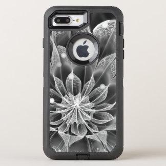 BnW Fractal Dahlia Flower via Electron Microscope OtterBox Defender iPhone 8 Plus/7 Plus Case