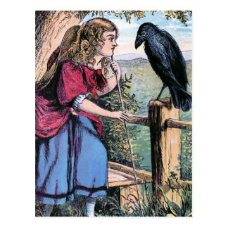 Bo-Peep and the Crow Vintage Illustration Postcard