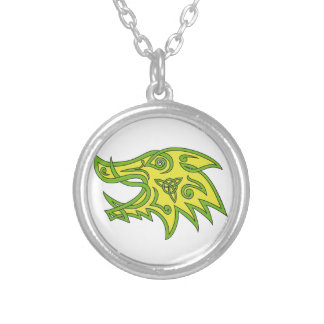 Boar Head Celtic Knot Silver Plated Necklace