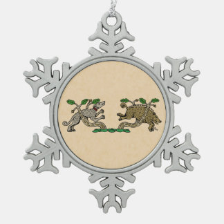 Boar Hunt Snowflake Pewter Christmas Ornament