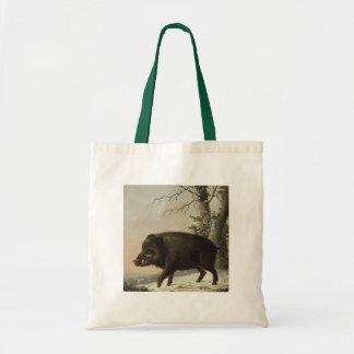 Boar Pig Vintage German Painting Tote Bags