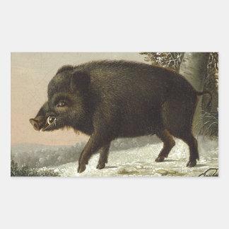 Boar Pig Vintage German Painting Sticker