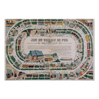 Board for a railway game, 1850 poster