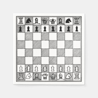 Board Game Black & White Chess Theme Paper Napkins