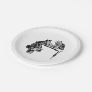 Board Games: Two Cats playing a Chess Match 7 Inch Paper Plate
