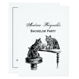 Board Games: Two Cats playing a Chess Match Card