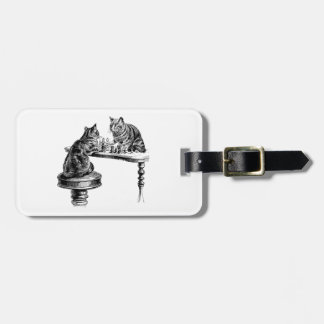 Board Games: Two Cats playing a Chess Match Luggage Tag