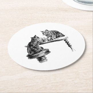 Board Games: Two Cats playing a Chess Match Round Paper Coaster