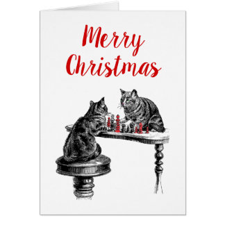 Board Games Two Cats playing Chess Match Red Card