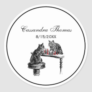 Board Games Two Cats playing Chess Match Red Classic Round Sticker