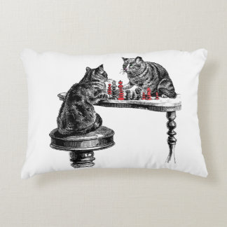 Board Games Two Cats playing Chess Match Red Decorative Pillow