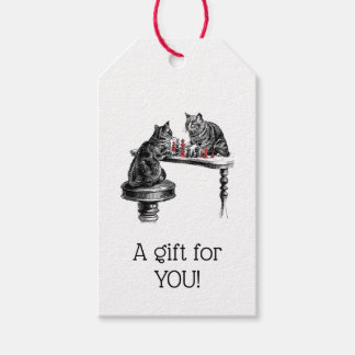 Board Games Two Cats playing Chess Match Red Gift Tags