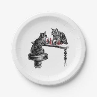 Board Games Two Cats playing Chess Match Red Paper Plate