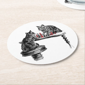 Board Games Two Cats playing Chess Match Red Round Paper Coaster