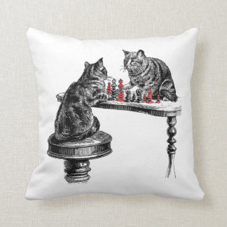 Board Games Two Cats playing Chess Match Red Throw Pillow