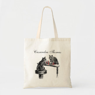 Board Games Two Cats playing Chess Match Red Tote Bag