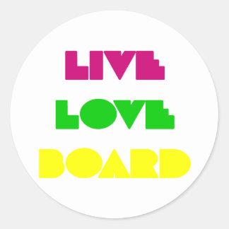 BoardChick Live Love Board Round Sticker
