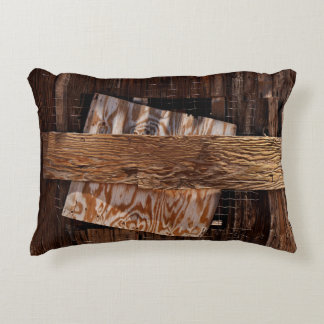 Boarded Up Old Wooden House Window Decorative Pillow