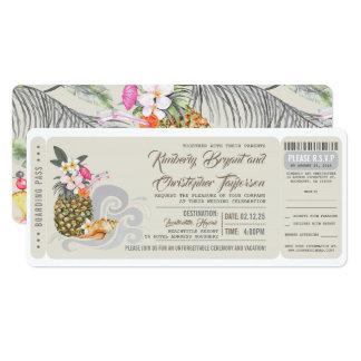 Boarding Pass | Beach Pineapple | Wedding Ticket Card