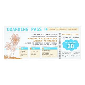 "boarding pass destination wedding tickets 4"" x 9.25"" invitation card"