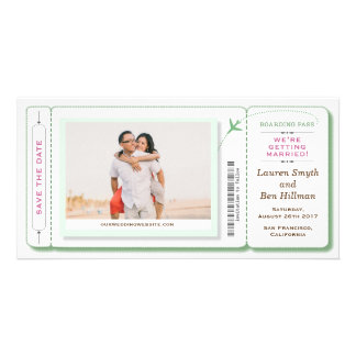 Boarding Pass Photo Save the Date Green Card