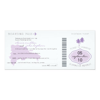 "Boarding Pass Save the Date to Dominican Republic 4"" X 9.25"" Invitation Card"