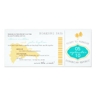 Boarding Pass Save the Date to Dominican Republic Card