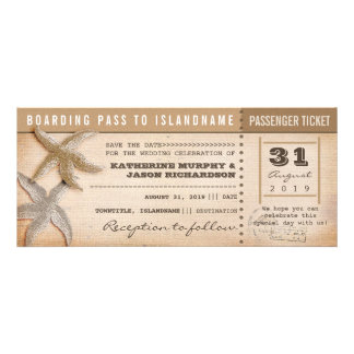 boarding pass save the date vintage tickets personalized invitation