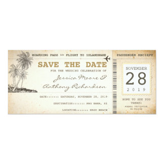 boarding pass tickets for save the date card
