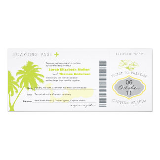 Boarding Pass to Cayman Islands Wedding Invitation