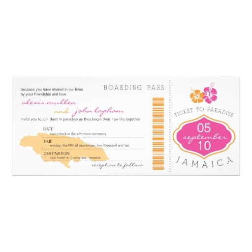 Boarding Pass to Jamaica Wedding Invitation