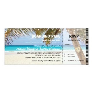 Boarding Pass Tropical Beach Flamingo Wedding Card