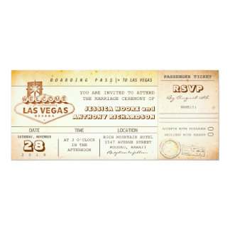 "boarding pass wedding tickets-invitation LAS VEGAS 4"" X 9.25"" Invitation Card"