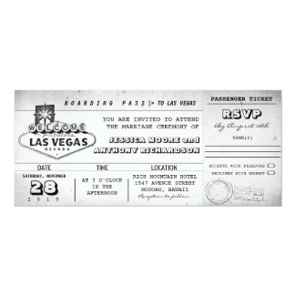boarding pass wedding tickets LAS VEGAS Invitation