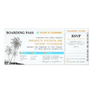 "boarding pass wedding tickets with RSVP together 4"" X 9.25"" Invitation Card"