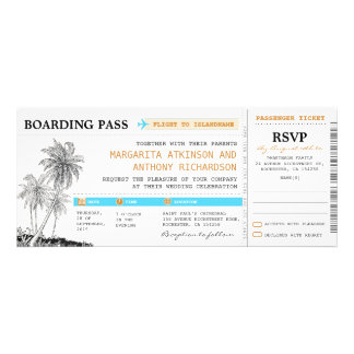 boarding pass wedding tickets with RSVP together Invitations