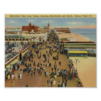 Boardwalk, Asbury Park, New Jersey Vintage Poster