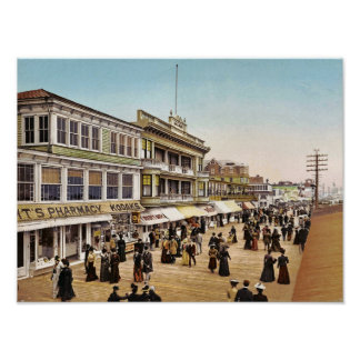 Boardwalk at Atlantic City, 1900 Poster