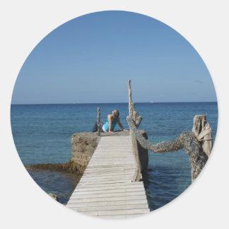 Boardwalk Paradise Round Sticker