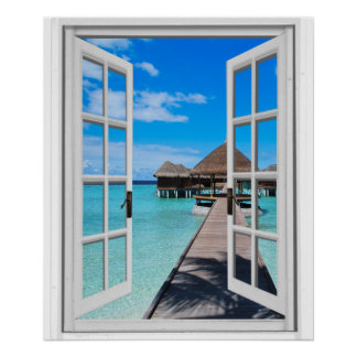 Boardwalk Pier Ocean View Faux Window Poster