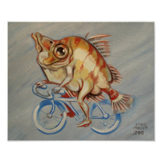 Boarfish On A Bicycle Poster