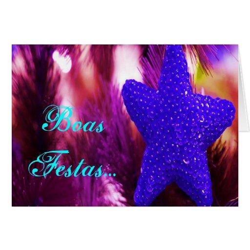 Boas Festas e um feliz Ano Novo Blue Star Greeting Card