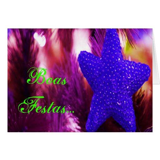 Boas Festas e um feliz Ano Novo Blue Star I Greeting Cards