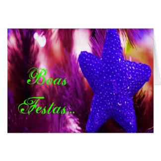 Boas Festas e um feliz Ano Novo Blue Star I Greeting Card