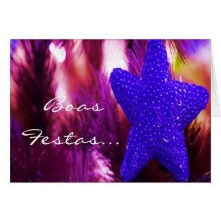 Boas Festas e um feliz Ano Novo Blue Star II Greeting Card