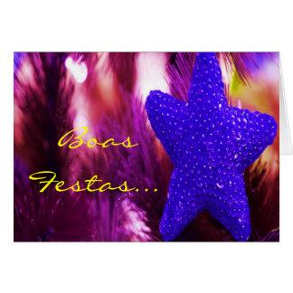 Boas Festas e um feliz Ano Novo Blue Star III Greeting Card