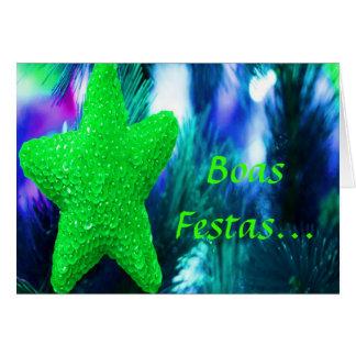 Boas Festas e um feliz Ano Novo Green Star I Greeting Card