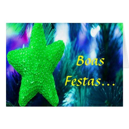 Boas Festas e um feliz Ano Novo Green Star II Greeting Cards