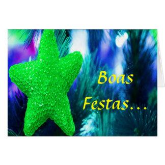Boas Festas e um feliz Ano Novo Green Star II Greeting Card